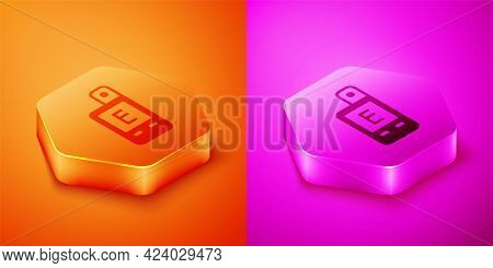Isometric Light Meter Icon Isolated On Orange And Pink Background. Hand Luxmeter. Exposure Meter - A