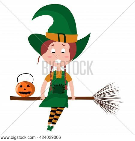 Cute Cartoon Girl Witch Character. Witch Flying On Broomstick With Pumpkin. Halloween Vector Illustr