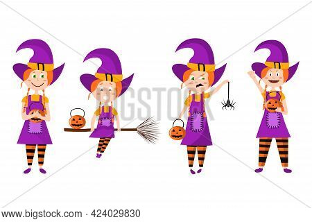 Cute Character Girl In Witch Costume. Set Different Poses And Emotions For Horror Night. Happy Hallo