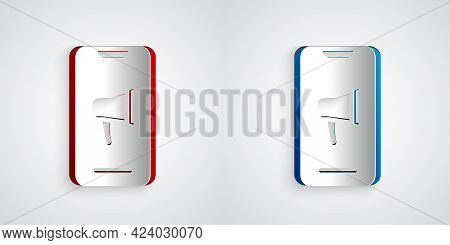 Paper Cut Protest Icon Isolated On Grey Background. Meeting, Protester, Picket, Speech, Banner, Prot