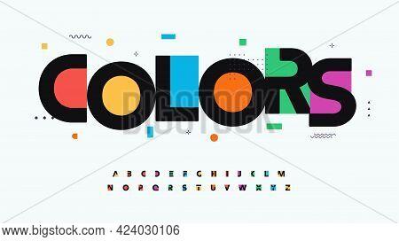 Colors Font Alphabet Letters. Modern Logo Typography. Color Creative Art Typographic Design. Festive