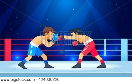 Boxing Among Boys On Ring. Teen Boxing, Kickboxing Children On Arena. Children Fight With These Adul