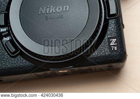 Fuji City, Shizuoka Ken, Japan - May 23, 2021: Nikon Z 7ii Mirrorless Digital Camera Body. Close Up