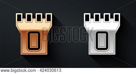 Gold And Silver Castle Tower Icon Isolated On Black Background. Fortress Sign. Long Shadow Style. Ve
