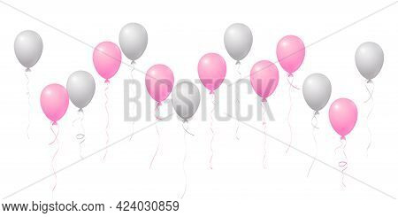 Silver And Pink Flying Balloons Isolated Vector Illustration