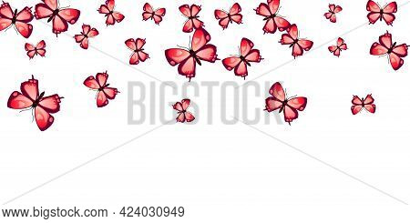 Romantic Red Butterflies Isolated Vector Background. Summer Ornate Insects. Detailed Butterflies Iso