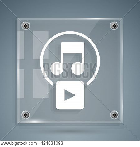 White Play In Square Icon Isolated On Grey Background. Square Glass Panels. Vector
