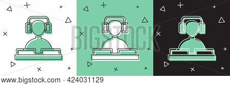 Set Dj Wearing Headphones In Front Of Record Decks Icon Isolated On White And Green, Black Backgroun