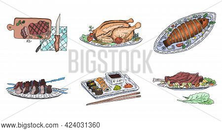 Meat Dishes Of The World Sushi Chicken And Ham. Sketch Image Stock Vector