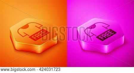 Isometric Clothes Donation Icon Isolated On Orange And Pink Background. Hexagon Button. Vector