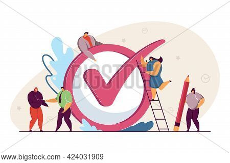 Business Team Realizing Plan, Achieving Goal. Flat Vector Illustration. Tiny People, Workers Checkin