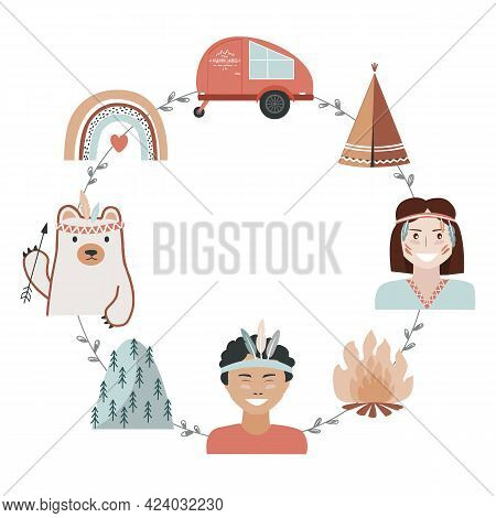 Kids Camping Concept In Tribal Style, Adventure Frame With Place For Text. Recreation And Outdoor Tr