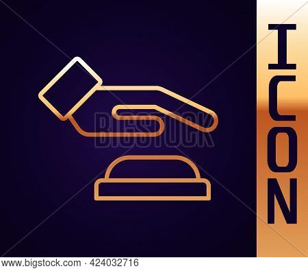 Gold Line Palm Print Recognition Icon Isolated On Black Background. Biometric Hand Scan. Fingerprint