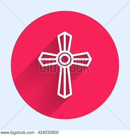 White Line Tombstone With Cross Icon Isolated With Long Shadow. Grave Icon. Red Circle Button. Vecto