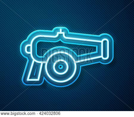 Glowing Neon Line Cannon Icon Isolated On Blue Background. Vector