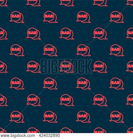 Red Line Street Signboard With Inscription Bar Icon Isolated Seamless Pattern On Black Background. S