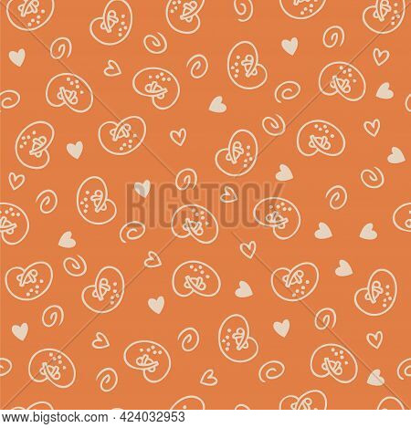Doodle Seamless Pattern Of Pretzels And Hearts. Perfect For Scrapbooking, Textile And Prints. Hand D