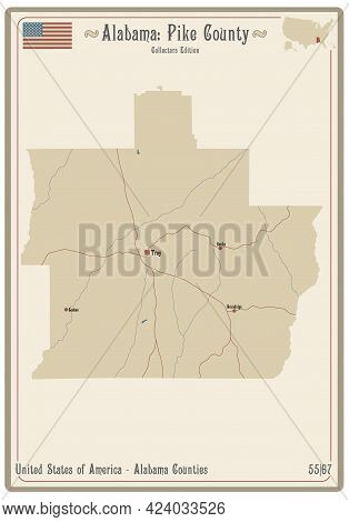 Map On An Old Playing Card Of Pike County In Alabama, Usa.