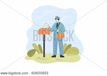 Postman Delivering Letter To Mailbox. Male Character In Uniform Putting Envelope Into Letterbox Flat