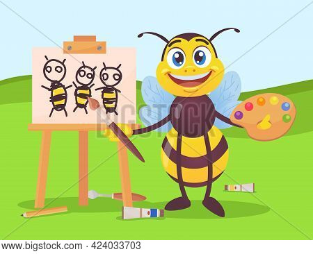 Happy Bee Character Drawing Honeybees On Canvas Outside. Black And Yellow Insect Holding Paintbrush