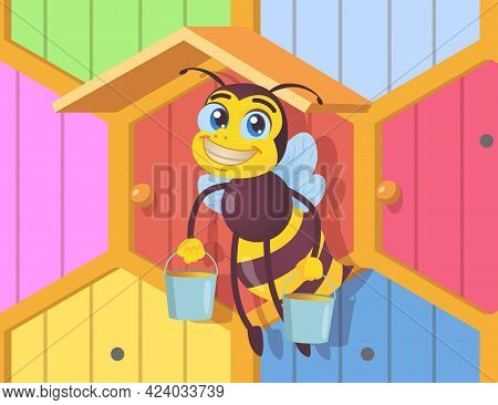 Happy Bee Character Holding Buckets Of Honey. Black And Yellow Insect With Wings Carrying Delicious