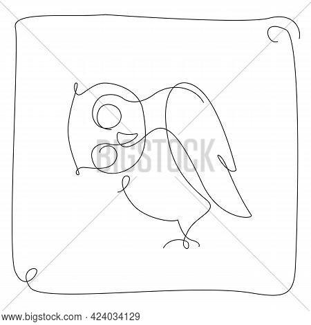 Owl Simple Line Illustration. Cute Owl Line Art. Continuous Line Bird. . Vector Illustration
