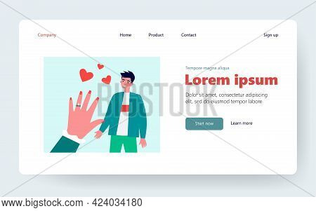 Engaged Guy In Love. Hand Of Fiancee With Engagement Ring. Flat Vector Illustration. Couple, Wedding