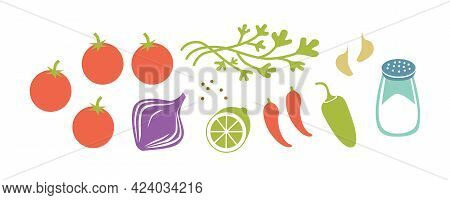 Fresh Raw Ingredients For Salsa Or Pico De Gallo. Horizontal Vector Illustration Isolated On White.