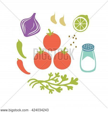 Fresh Raw Ingredients For Salsa Or Pico De Gallo. Round Vector Illustration Isolated On White.