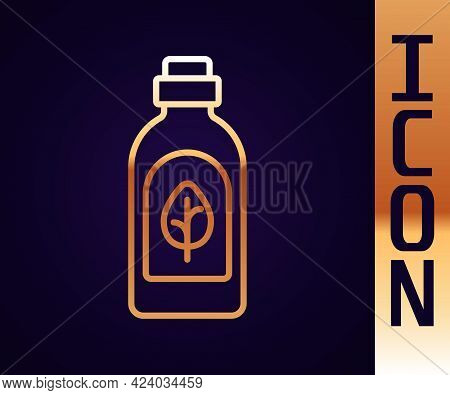 Gold Line Essential Oil Bottle Icon Isolated Gold Line Background. Organic Aromatherapy Essence. Ski