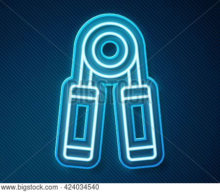 Glowing Neon Line Sport Expander Icon Isolated On Blue Background. Sport Equipment. Vector