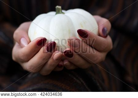 White Halloween Pumpkin In Girls Hand With The Blurred Background. Autumn Halloween Holiday.
