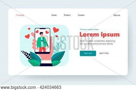 Hand Holding Smartphone With Man Photo. Like, Heart, Cellphone Flat Vector Illustration. Social Medi