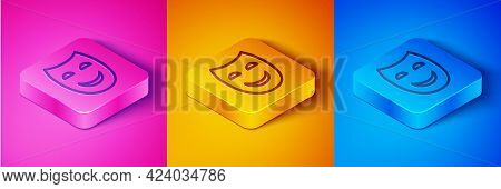Isometric Line Comedy Theatrical Mask Icon Isolated On Pink And Orange, Blue Background. Square Butt