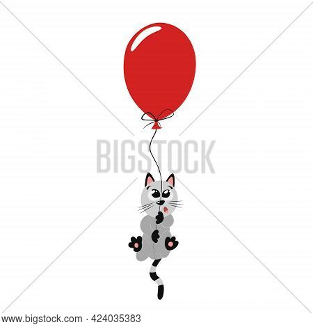 Cute Funny Gray Kitten Flying On A Red Balloon. Beautiful Bright Flat Illustration For Nursery Decor