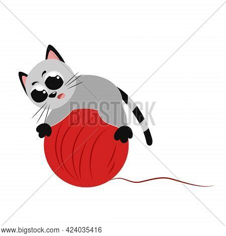 Cute Funny Gray Little Cat Playing With A Big Ball Of Red Threads. Beautiful Colored Flat Illustrati