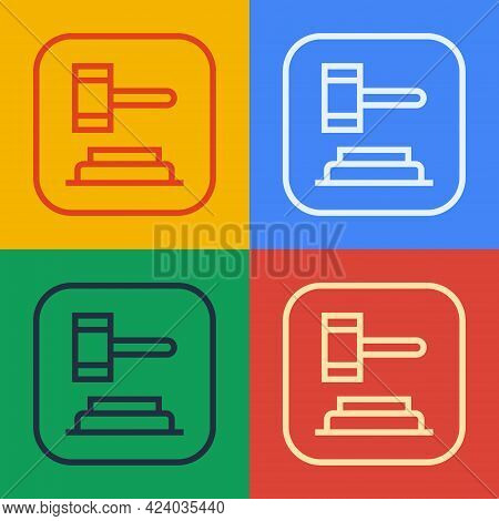 Pop Art Line Judge Gavel Icon Isolated On Color Background. Gavel For Adjudication Of Sentences And