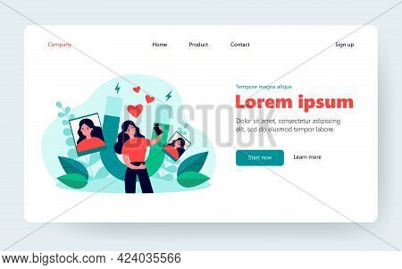 Successful Female Blogger Taking Selfie On Cellphone. Magnet Attracting Likes. Flat Vector Illustrat