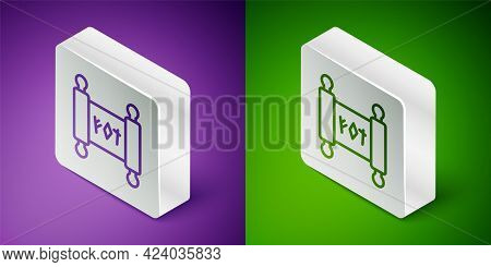 Isometric Line Magic Scroll Icon Isolated On Purple And Green Background. Decree, Paper, Parchment,