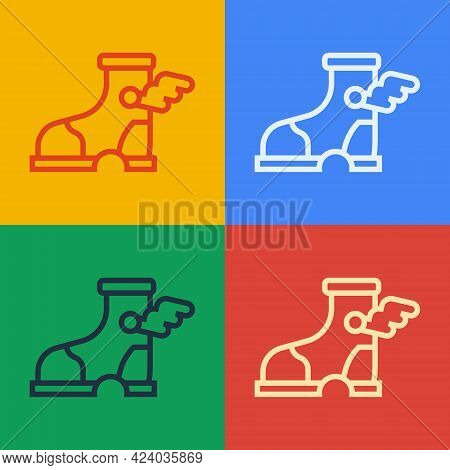 Pop Art Line Hermes Sandal Icon Isolated On Color Background. Ancient Greek God Hermes. Running Shoe