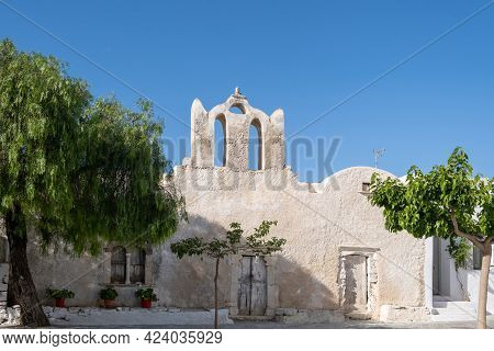 Folegandros Island, Greece, Cyclades. Old Church At Chora Town Square.
