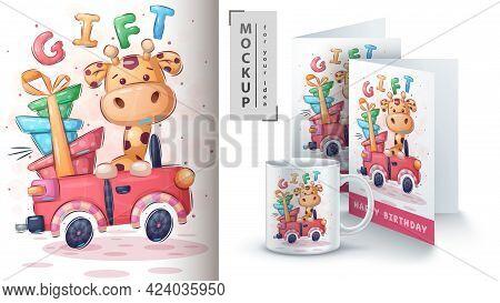Giraffe Car - Poster And Merchandising. Vector Eps 10
