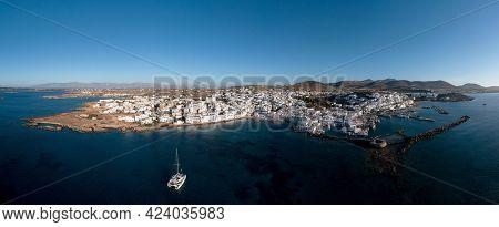 Paros Island, Naousa Cityscape Panorama Aerial Drone View. Greece,  Cyclades.
