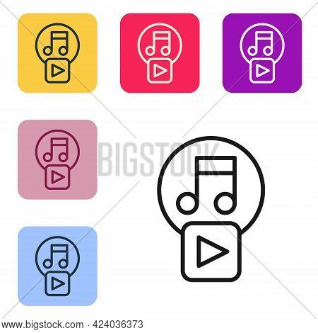 Black Line Play In Square Icon Isolated On White Background. Set Icons In Color Square Buttons. Vect