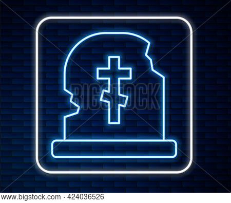Glowing Neon Line Grave With Tombstone Icon Isolated On Brick Wall Background. Vector