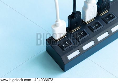 Full Usb Hub With Multiple Usb Ports For Cables Close-up With Copyspace