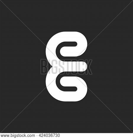 Monogram E Letter Logo, Minimal Style Design Template, White Endless Monoline Mark.