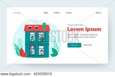 Neighbors Keeping Pets In Their Flats. Windows And Exterior Of Apartment Building Flat Vector Illust