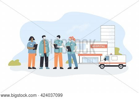 Group Of Pharmacists In Hospital Yard. Medical Staff With Doctor In Front Of Building, Ambulance Car