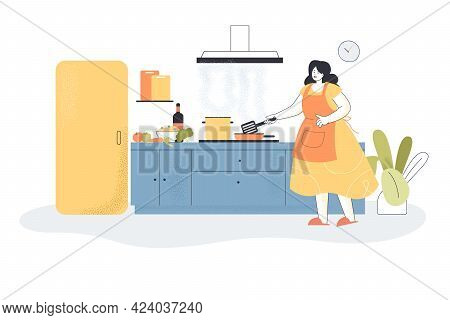 Woman Cooking Meals In Kitchen. Female Character Preparing Food Using Stove, Kitchen Interior Flat V